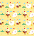seamless pattern chicken family vector image