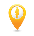 woman icon yellow map pointer vector image