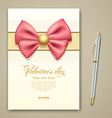 Valentine greeting card pink ribbon vector image