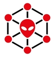 Alien Network Flat Icon vector image