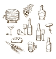 Sketches of alcohol drinks and snacks vector image vector image