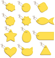 Yellow labels on a string vector image