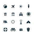 beach icons set vector image