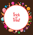 Halloween Candy with Trick Or Treat on Round Frame vector image