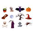 halloween set of cartoon icons vector image