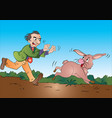 man running after a rabbit vector image