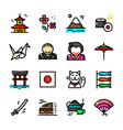 thin line japan icons set vector image