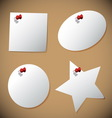 Set of note paper with pin vector image vector image