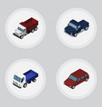 isometric transport set of car suv freight and vector image