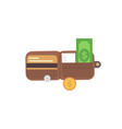 leather wallet with money vector image