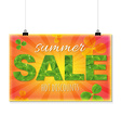 Summer Sale Banner With Leaves vector image
