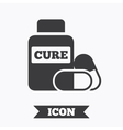 Medical pills bottle sign icon Drugs symbol vector image