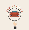 car and human hand signcar service logo design vector image
