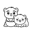 isolated cute two panda bears vector image