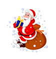 santa claus sitting sack full of gifts vector image