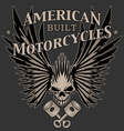 Skull Wings and Pistons Motorcycle vector image
