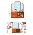 Room interior with dressing table Woman cosmetics vector image
