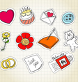 Set of love symbols on paper vector image