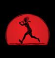 tennis player running  woman play tennis vector image