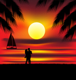 lovers on beach vector image vector image