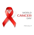 Awareness World Cancer Day red ribbon vector image