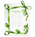 card with green bows and green ribbons vector image vector image