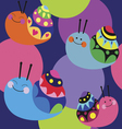 Cartoon color pattern with snails vector image