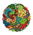 Ethnic doodle floral circle pattern vector image
