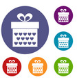 gift box with ribbon bow icons set vector image