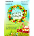 happy easter day cartoon poster design vector image