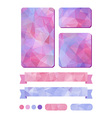 Set of colorful design elements in pink vector image