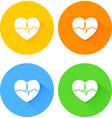 Set of flat long shadow heart icons vector image