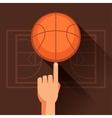 Sports of hand spinning basketball ball vector image