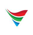 triangle arrow wave business logo vector image