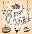 Vintage Hand Drawn Halloween Set Seven vector image