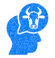 cattle thinking person icon grunge watermark vector image