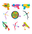 set of water pistol bow crossbow darts vector image