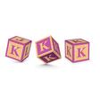 letter K wooden alphabet blocks vector image