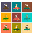 assembly flat christmas tree cat vector image