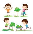 children involved in gardening vector image