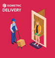 fast delivery flat isometric concept the vector image