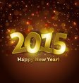 golden 2015 Happy New Year greeting card vector image