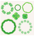 Green leaf in circle element vector image