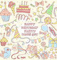 Happy birthday party set with hand drawn icons and vector image