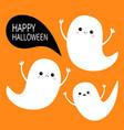 happy halloween flying ghost spirit set three vector image