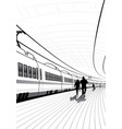 people at the railway station vector image