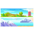 vegetable farm and mountain landscape horizontal vector image