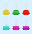 Set of laboratory with colourful liquid vector image vector image