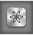 Atom icon - metal app button vector image