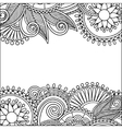 vintage floral ornamental black and white card vector image vector image